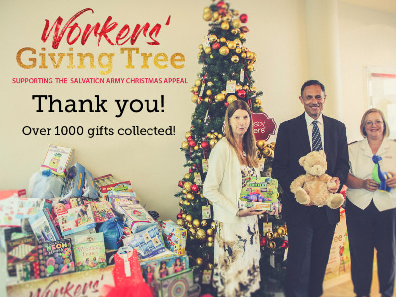 the workers giving tree this year was a huge success with over 1000 gifts collected to donate to children less fortunate than ourselves